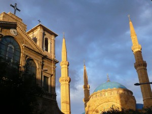 A church and a mosque side by side in the centre of Lebanon's capital Beirut