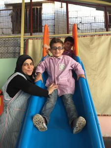 Children at this kindergarten learn Arabic and English.